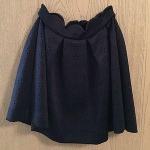 Francescas navy scalloped high-waisted flare skirt
